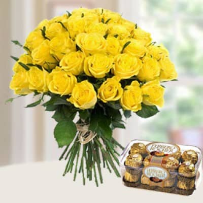 20 Yellow Roses with Chocolate
